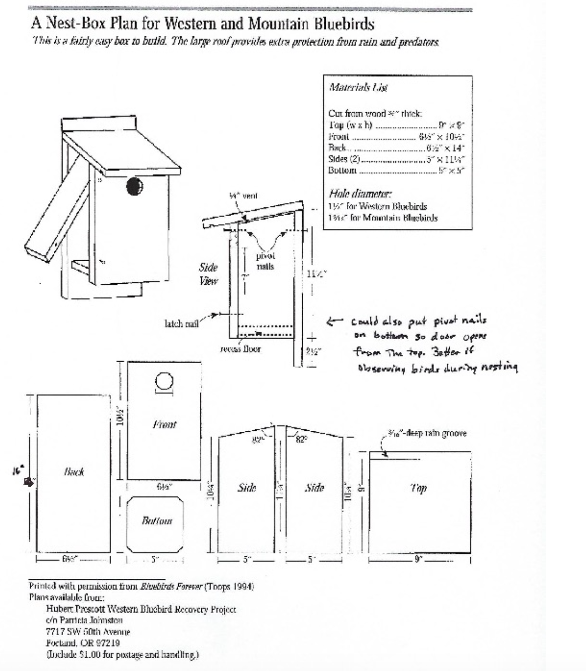 Nest Box Plan for Western and Mountain Bluebirds
